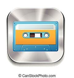 Cassette - Icon of a retro cassette on white background