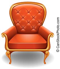 Armchair - Orange armchair on a white background