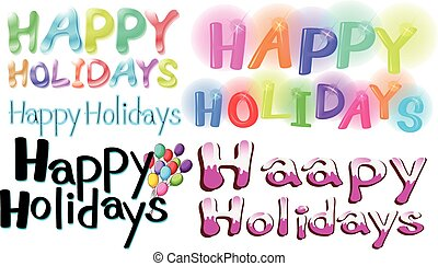 Happy holidays - Different font designs of Happy Holidays