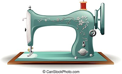 Sewing machine - Blue color sewing machine with flower...