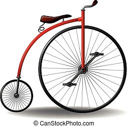 Bicycle - Red retro bicycle on a white background