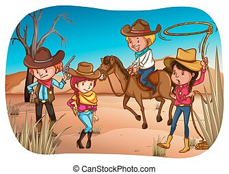 Desert - Cowboys and cowgirls standing in the desert
