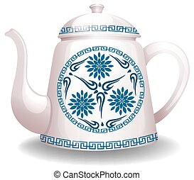 Kettle - White kettle with flower design on white background