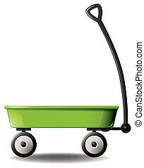 Wagon - Retro green wagon on white background