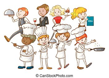 Restaurant - Group of restuarant workers on a white...