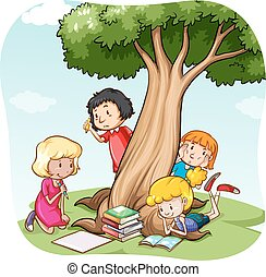 Reading - Children reading and writing under the tree