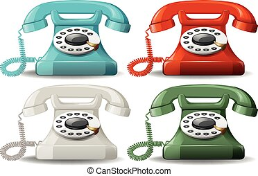 Retro telephones in four different colors