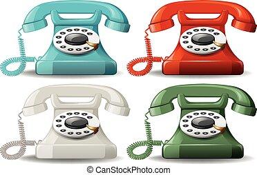 Retro, teléfonos,