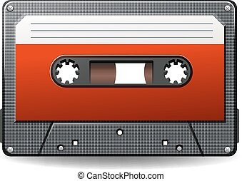 Cassette - Black retro cassette on a white background