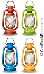 Oil lamp - Set of four different colors oil lamp