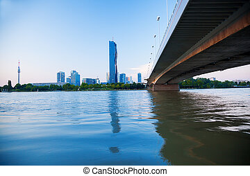 Modern city with Danube river in Vienna, Austria - View on a...