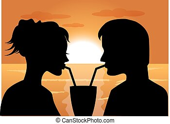 silhouettes of a couple in love - silhouettes of a couple in...
