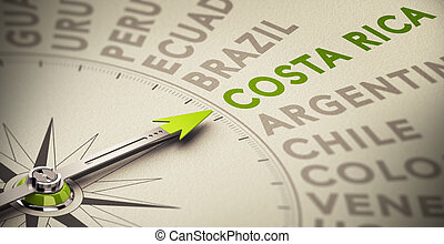 Costa Rica - Holiday destination. Compass with needle...