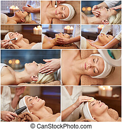woman having facial massage in spa salon - beauty, healthy...