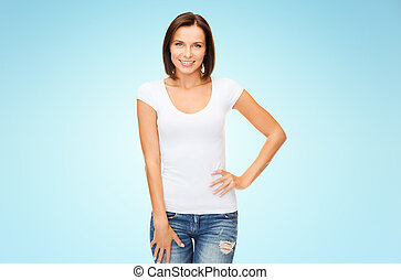happy woman in blank white t-shirt over blue - people,...