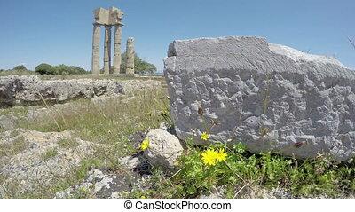 historical Apollo temple ruins columns in acropolis, Rhodes,...