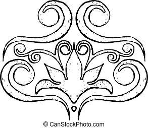 Design element - Black graphic floral decorative element,...