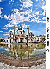 Karlskirche St Charless Church in Vienna, Austria - Famous...