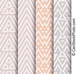 Set of four patterns - Tribal lace patterns in pastel colors...