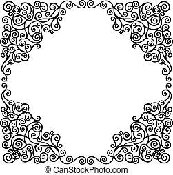 Scroll border - Black graphic scroll decorative border,...