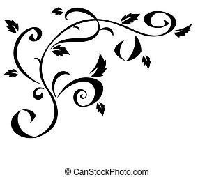 Black floral element for design 2