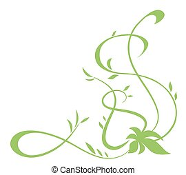 Green floral element for design