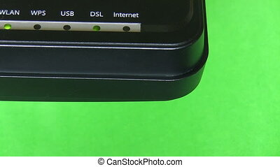 Modem corner on green background - Internet modem...