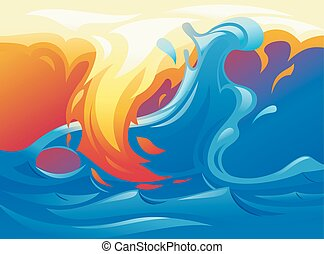 Water and fire yin yang symbol 2