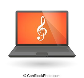 Laptop icon with a g clef