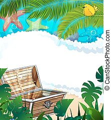 Treasure Chest on the tropical coast - Treasure Chest on a...