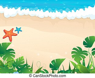 Tropical beach with tropical vegetation - Sandy coast and...