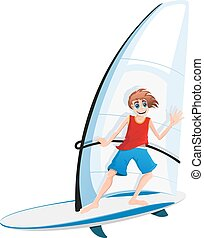 Boy on a sail board - Smiling boy in red shirt and blue...