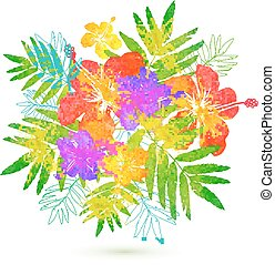 Bright tropical flowers vector summer bouquet - Bright...