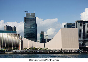 Hong Kong Cultural Centre with blue sky and nice cloud.
