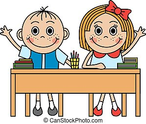 Cartoon children sitting at school desk and pull hand to...