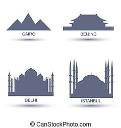 City Icons set, Cairo Beijing Delhi Istanbul