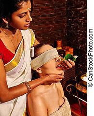Woman having ayurveda spa treatment - Woman having fresh...