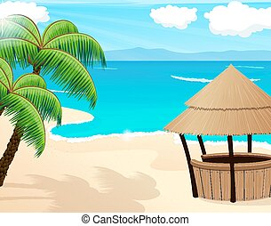 Tropical seascape - Tropical sandy coast with palm trees and...