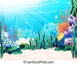 Underwater plants - Underwater landscape with exotic plants...