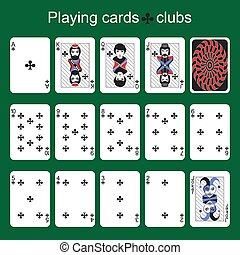 Playing cards. Clubs