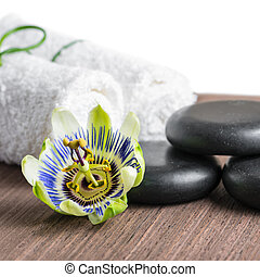 beautiful spa still life of passiflora flower, black zen...