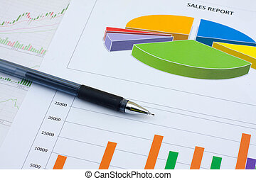 Analysis charts and graphs of sales -successful corporate...