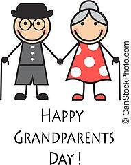 happy grandparents day - Cartoon grandparents with canes on...