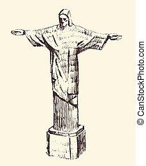 Statue of Jesus Christ, Rio de Janeiro, Brazil - Statue of...