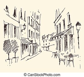 Streets in Paris, France, Vintage Hand Drawn