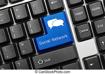 Conceptual keyboard - Social Network blue key - Close-up...