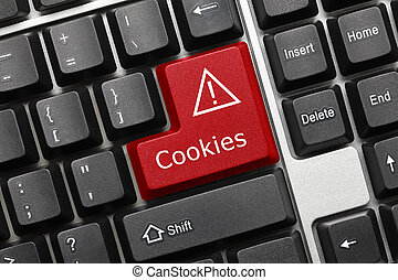 Conceptual keyboard - Cookies red key - Close-up view on...