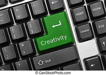 Conceptual keyboard - Creativity green key - Close-up view...