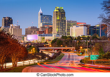 Raleigh Skyline - Raleigh, North Carolina, USA downtown city...
