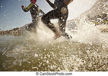 triatlón, participantes, Funcionamiento, en, el,...